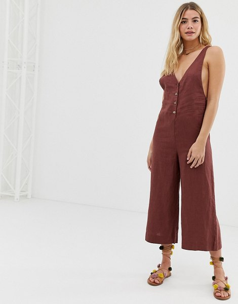 Rhythm amalfi linen culotte leg jumpsuit in ginger-brown in brown