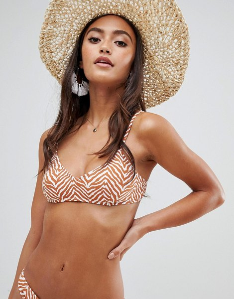 Rhythm zambia crop bikini top in animal print in ginger