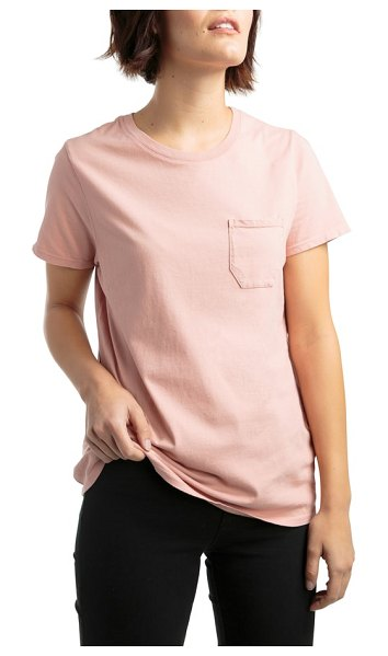 Richer Poorer pocket tee in tan - A classic, American-made crewneck tee with a chest...