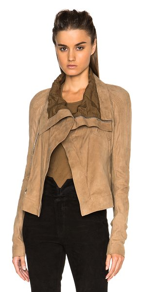 RICK OWENS Biker eliel sleeve suede jacket in neutrals - Self: 100% lambskin leather - Lining: 100% cotton -...