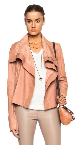 Rick Owens Classic blister leather biker in pink - Self: 100% lambskin leather - Contrast Fabric: 100% new...