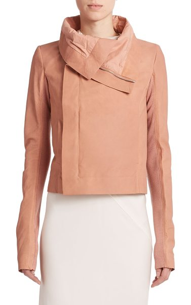 Rick Owens Clean leather biker jacket in rose - A sculptural folded collar is the focal point of this...