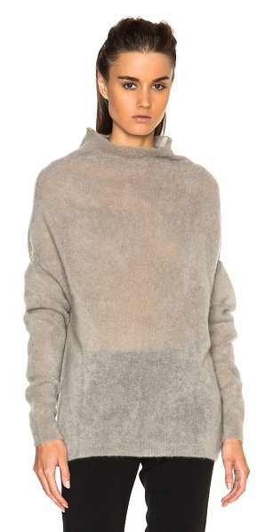 Rick Owens Crater fuzzy knit sweater in gray - 58% mohair 10% wool.  Made in Italy.  Knit fabric. ...