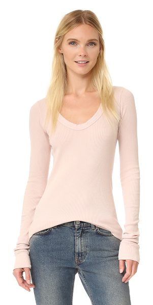 Rick Owens Drkshdw Rick Owens Drkshdw Long Sleeve V Neck Top in rose - A ribbed Rick Owens DRKSHDW top with a scoop neckline...