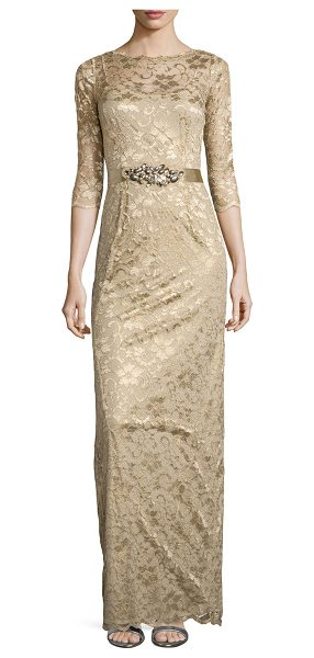 5875393915b0 Rickie Freeman for Teri Jon 3/4-Sleeve Lace Overlay Gown | Nudevotion