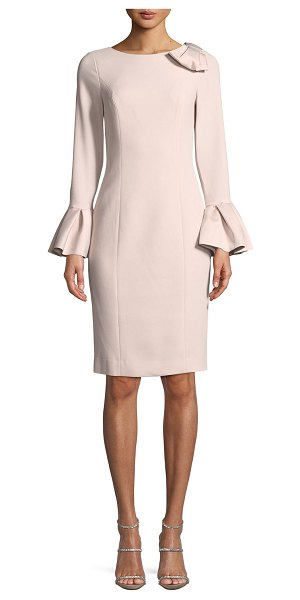Rickie Freeman for Teri Jon Bell-Sleeve Crepe Sheath Dress in blush