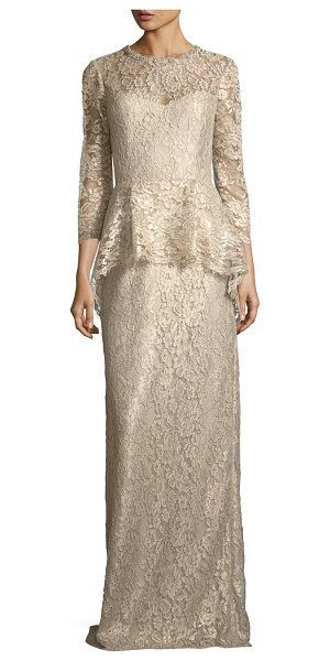 Rickie Freeman for Teri Jon Lace Applique Long Peplum Three-Quarter Sleeve Gown in gold - EXCLUSIVELY AT NEIMAN MARCUS Rickie Freeman for Teri Jon...