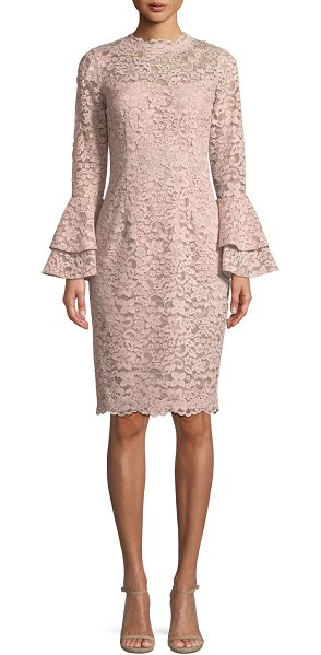 Rickie Freeman for Teri Jon Lace Bell-Sleeve Sheath Cocktail Dress in mauve - EXCLUSIVELY AT NEIMAN MARCUS Rickie Freeman for Teri Jon...