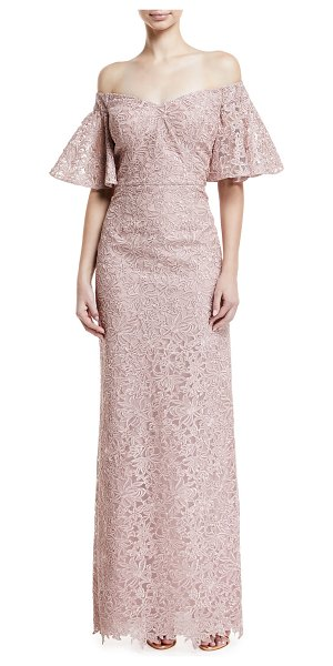 Rickie Freeman for Teri Jon Lace Off-the-Shoulder Flutter-Sleeve Gown in blush - EXCLUSIVELY AT NEIMAN MARCUS Rickie Freeman for Teri Jon...