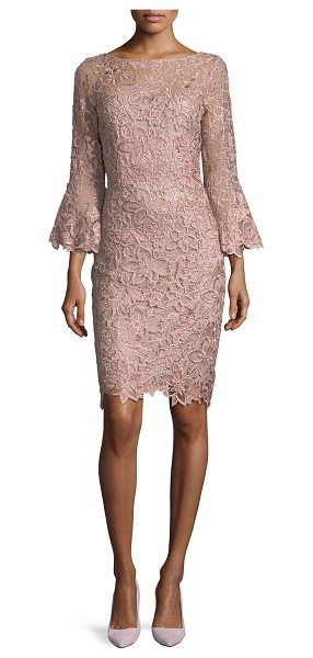 Rickie Freeman for Teri Jon Lace Trumpet-Sleeve Sheath Cocktail Dress in mauve - EXCLUSIVELY AT NEIMAN MARCUS Rickie Freeman for Teri Jon...