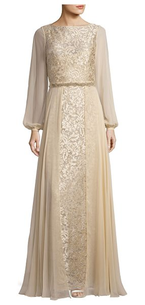Rickie Freeman for Teri Jon Long-Sleeve Embroidered Tulle & Silk Chiffon Gown in champagne - Rickie Freeman for Teri Jon tulle gown with floral...