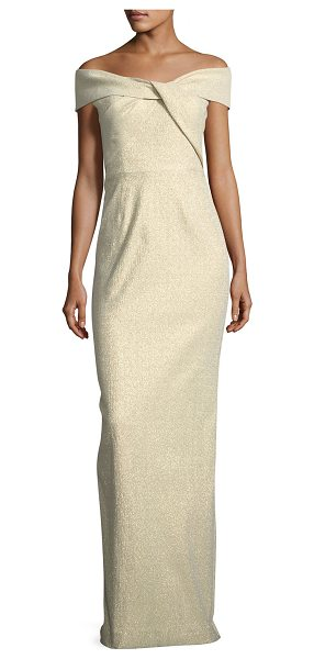 Rickie Freeman for Teri Jon Off-the-Shoulder Metallic Jacquard Gown in gold - EXCLUSIVELY AT NEIMAN MARCUS Rickie Freeman for Teri Jon...