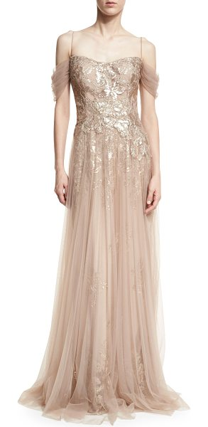 Rickie Freeman for Teri Jon Sequin Lace Evening Gown w/ Tulle Overlay in nude - Rickie Freeman for Teri Jon evening gown in sequined...