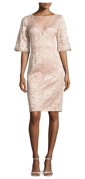 Rickie Freeman for Teri Jon Short-Sleeve Floral Lace Cocktail Dress in blush - EXCLUSIVELY AT NEIMAN MARCUS Rickie Freeman for Teri Jon...