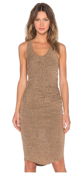 Riller & Fount Claudette dress in tan - 74% rayon 21% poly 5% spandex. Dry clean only. Unlined....