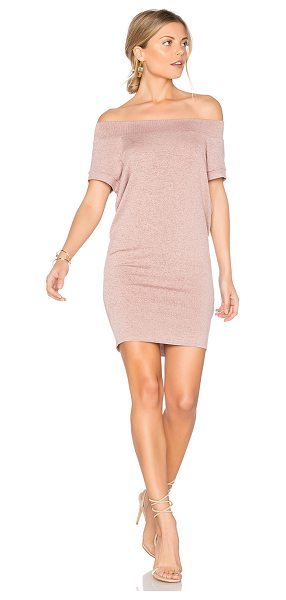 Riller & Fount Dwight Off Shoulder Tunic Dress in tea rose - 74% rayon 21% poly 5% spandex. Dry clean only. Unlined....