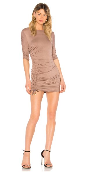 Riller & Fount Felicia Dress in brown - 95% modal 5% spandex. Dry clean only. Unlined. Ruched...