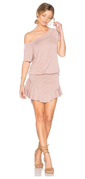 """Riller & Fount Jordy Romper in pink - """"74% rayon 21% poly 5% spandex. Dry clean only. Banded..."""