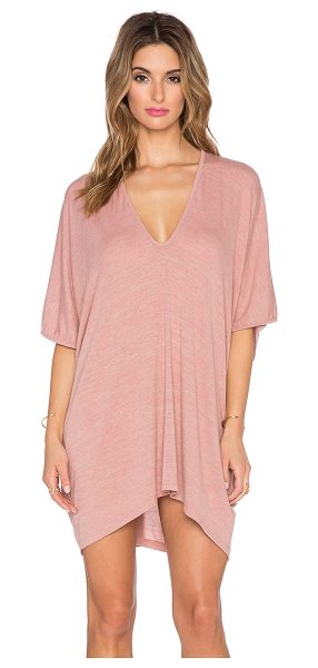 Riller & Fount Lola caftan mini dress in blush - 74% rayon 21% poly 5% spandex. Dry clean only. Unlined....