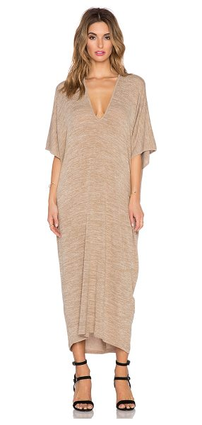 Riller & Fount Lola caftan mini dress in tan - 74% rayon 21% poly 5% spandex. Dry clean only. Unlined....
