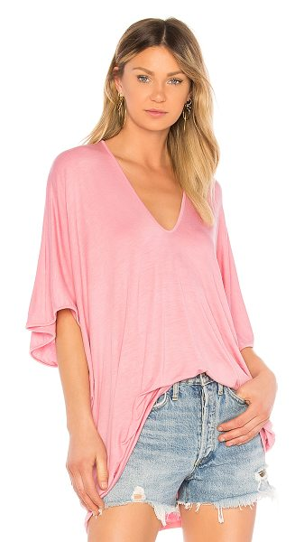 Riller & Fount Lola Tee in pink - 95% modal 5% spandex. Dry clean only. Slub knit fabric....