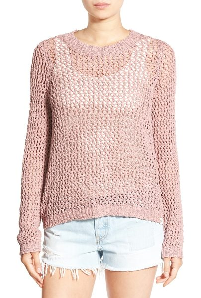 Rip Curl 'looking back' mesh knit pullover in dusty rose - An airy mesh-knit pullover made from soft, cooling...