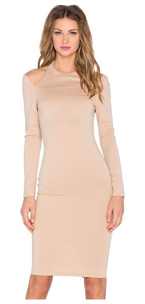 RISE Royals Only Cut Out Midi Dress in tan - Self: 95% poly 5% spandexLining: 100% poly. Unlined....