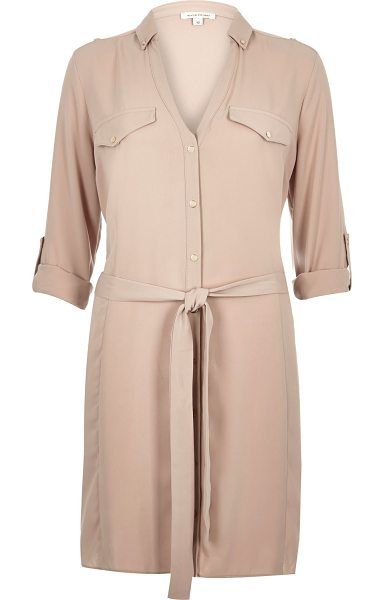 River Island beige crepe military shirt dress in beige - Crepe Relaxed fit Button-up front V-neck Button down...
