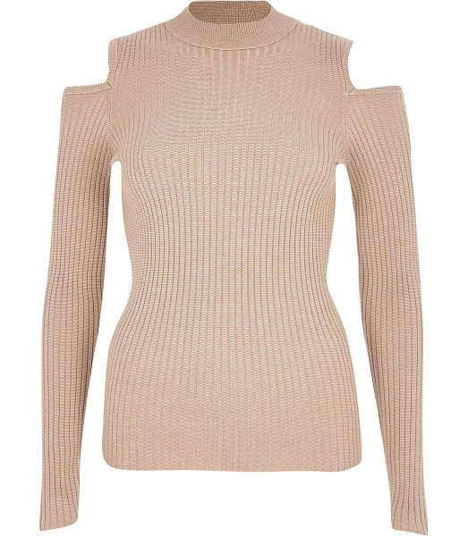 RIVER ISLAND beige knitted ribbed cold shoulder top - Ribbed knit Stretch to fit High neck Long sleeves Cold...