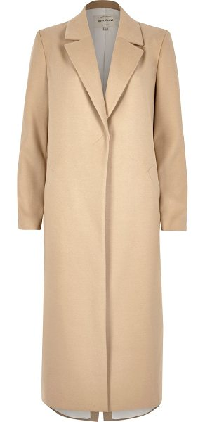 River Island beige tailored duster overcoat in beige - Shawl lapels Tailored style coat Longline fit Long...