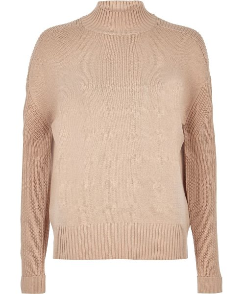 RIVER ISLAND beige long sleeve turtleneck top - Midweight knitted fabric Relaxed fit Turtleneck Ribbed...