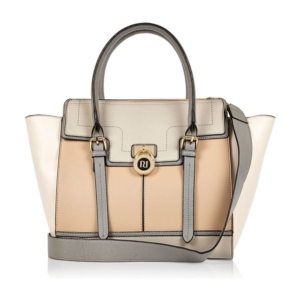 River Island beige padlock winged tote handbag in beige - Winged tote bag Two top handles Adjustable shoulder...