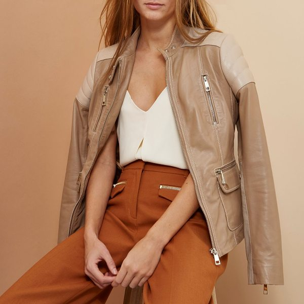 River Island beige ri studio leather biker jacket in beige - RI Studio Leather Color block design Fitted Zip-up front...