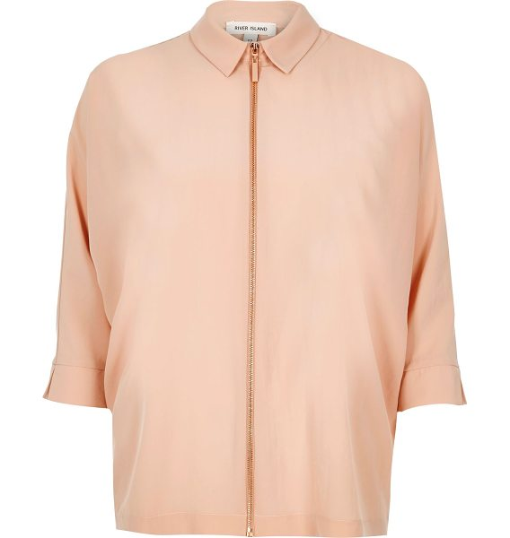 River Island beige zip front shirt in beige - Lightweight fabric Mid sleeve Rose gold tone zip...