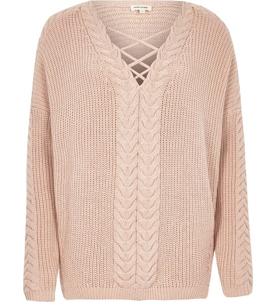River Island blush pink cable knit tie front jumper in pink - Knitted 100% cotton Oversized fit Tie front detail...