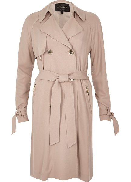 River Island blush pink duster trench coat in pink - Premium woven fabric Soft trench coat Double-breasted...