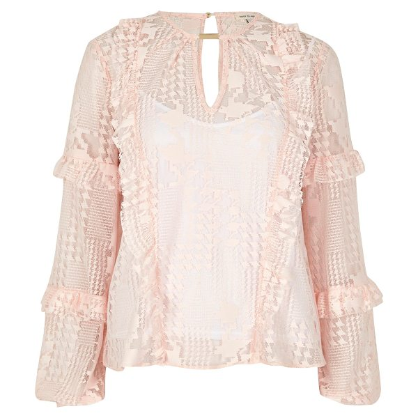 River Island blush pink lace frill blouse in pink - Houndstooth lace Cami top underlayer Loop front detail...