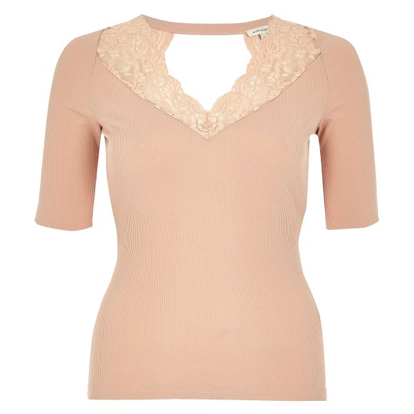River Island blush pink lace trim top in pink - Smart jersey with lace trim Fitted top Dipped neckline...