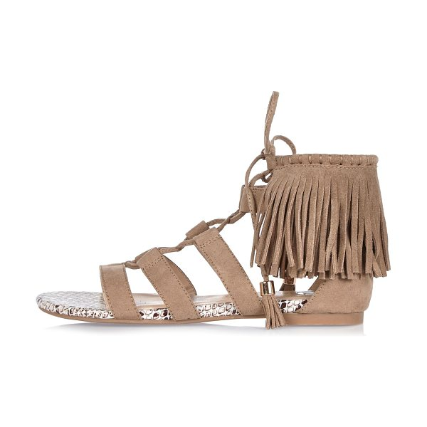 River Island brown fringed lace-up sandals in brown - Faux suede Open strappy design Open toe Lace-up front...