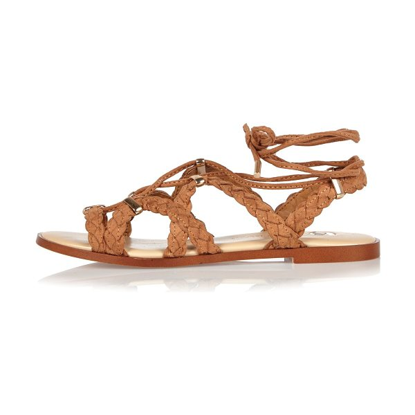 River Island brown plaited sandals in brown - Plaited straps Caged gladiator style Lace-up front and ankle