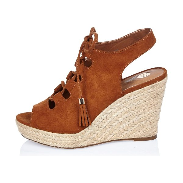 River Island brown slingback gladiator wedges in brown - Open toe Lace-up front Slingback Woven raffia wedge heel...