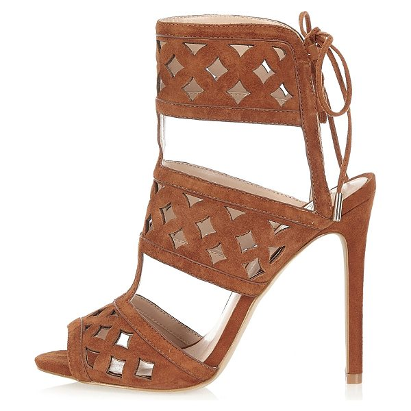 RIVER ISLAND brown suede laser cut sandal heels - Suede upper Laser cut design Strappy lace up Heel 12cm
