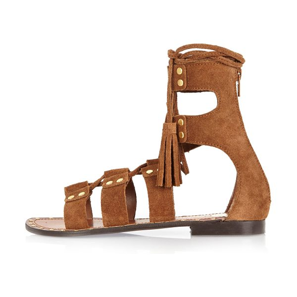 River Island brown suede studded gladiator sandals in brown