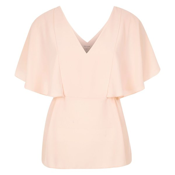 River Island coral cape back v-neck t-shirt in coral - Lightweight woven fabric Relaxed fit Deep V-neck Short...
