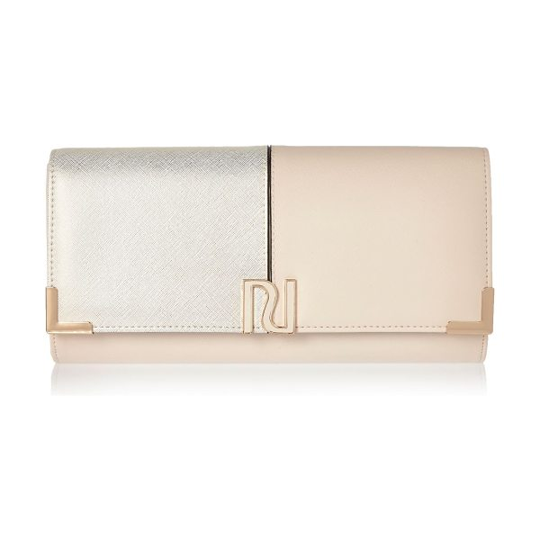 River Island cream panel foldover clutch bag in cream - Mixed fabric Panel design Foldover design Snap fastening...