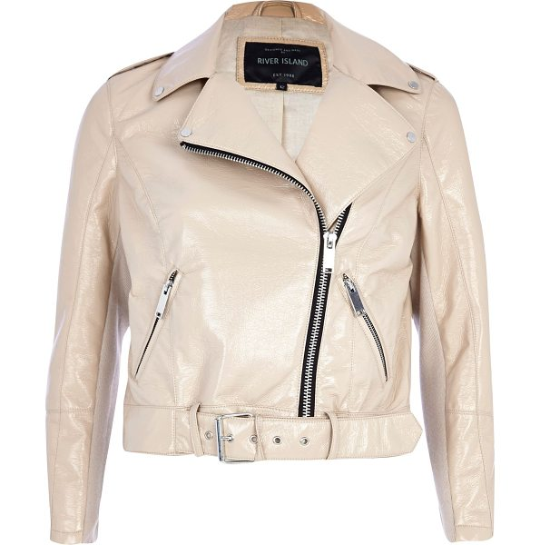 River Island cream patent cropped biker jacket in cream - Take the humble biker jacket to the forefront of your...