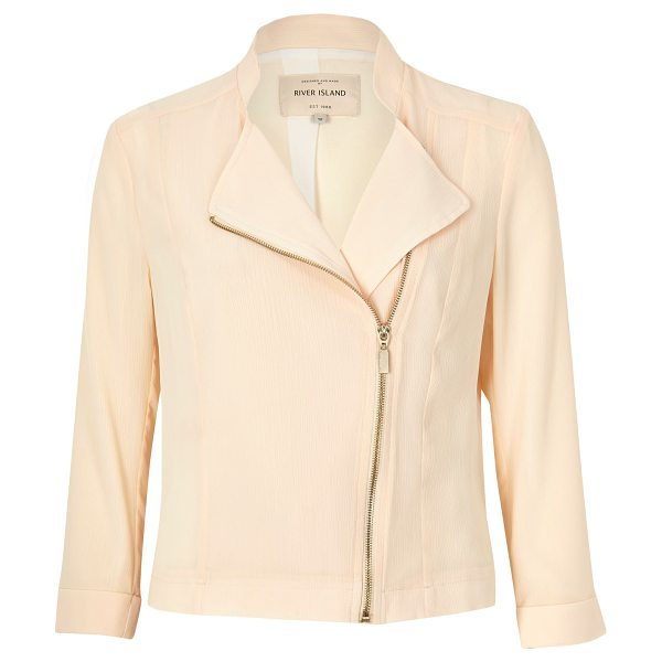 River Island cream sheer biker jacket in cream - Lightweight woven fabric Lined Long sleeved Asymmetric...