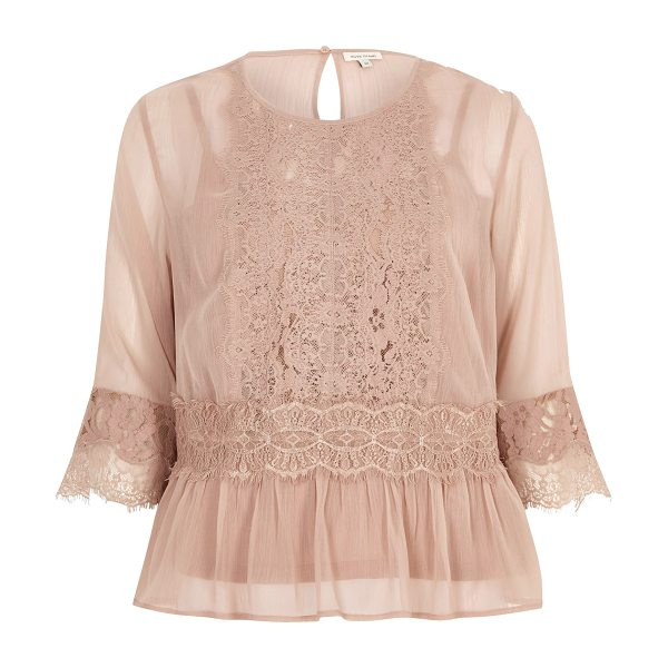 River Island dark nude chiffon lace detail blouse in nude - Chiffon fabric with l ace front detail Long sleeve with...