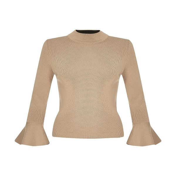 RIVER ISLAND dark nude knitted flute sleeve top - Soft knit Stretch to fit High neck Long sleeves Fluted...