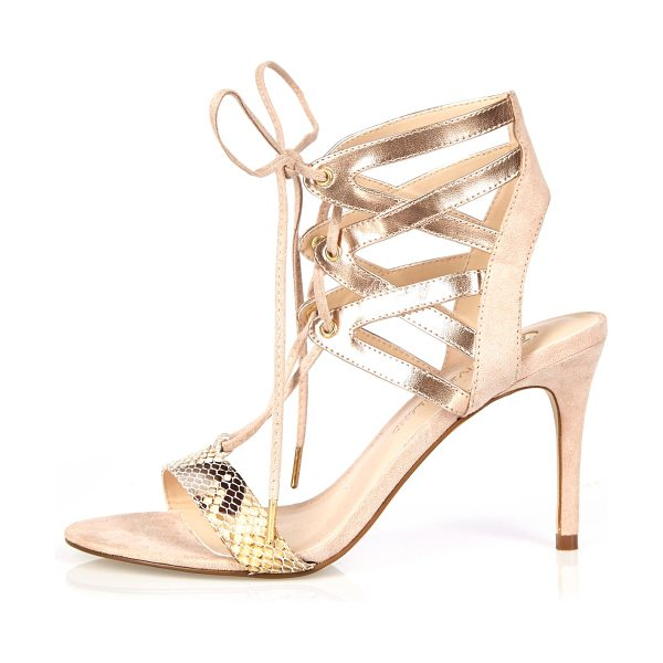 River Island gold caged heel sandals in gold - Snake print straps Metallic gold caged ankle Open toe...